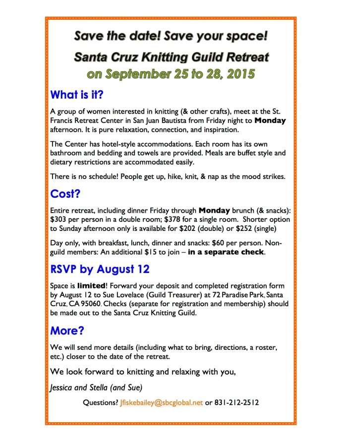 REVISED Knitting Guild Retreat 2015